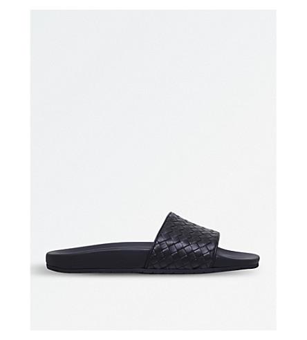 BOTTEGA VENETA Lake intrecciato leather slider sandals (Dark+brown