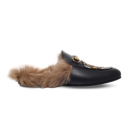 GUCCI Princetwn tiger leather slippers (Black