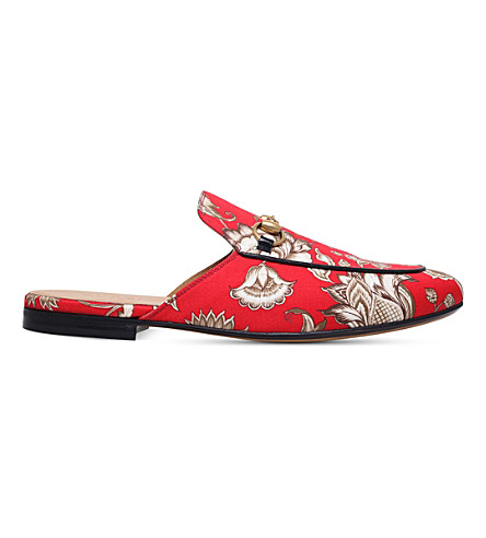 GUCCI Princetown floral canvas slippers (Red