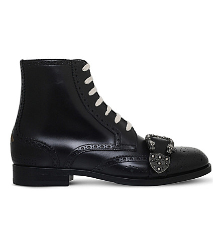 GUCCI Queercore buckle detail leather boots (Black