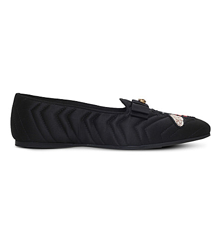 GUCCI Gallipoli bee-embroidered quilted silk slippers