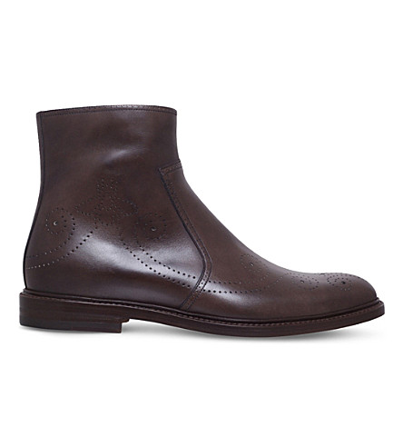 GUCCI Bee broguing leather ankle boots