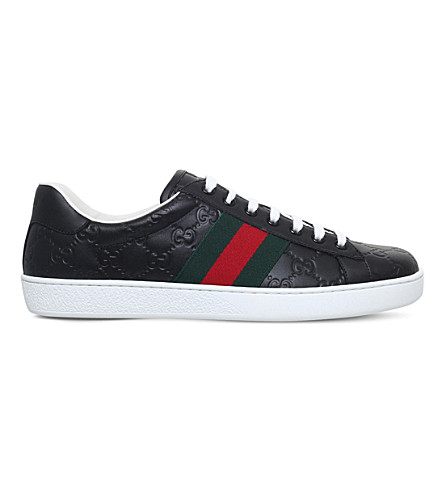 GUCCI New Ace logo-embossed leather trainers (Black