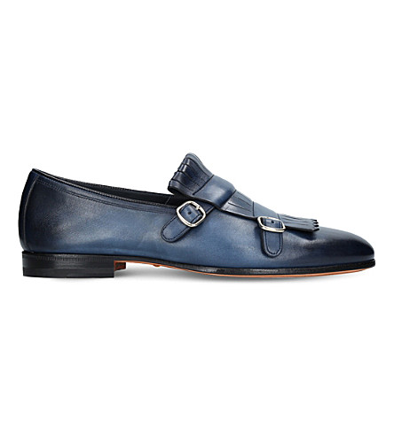 SANTONI Fringed leather monk shoes (Mid+blue