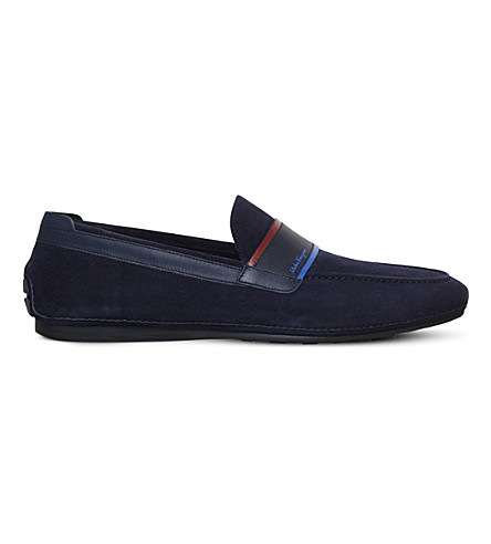 SALVATORE FERRAGAMO Florida suede driving shoes (Navy