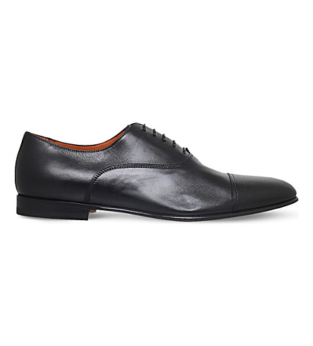 SANTONI Wilson leather Oxford shoes (Black