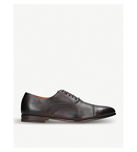 SANTONI Wilson lace-up leather Oxford shoes (Brown