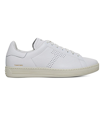 TOM FORD Warwick grained leather low-top trainers (White
