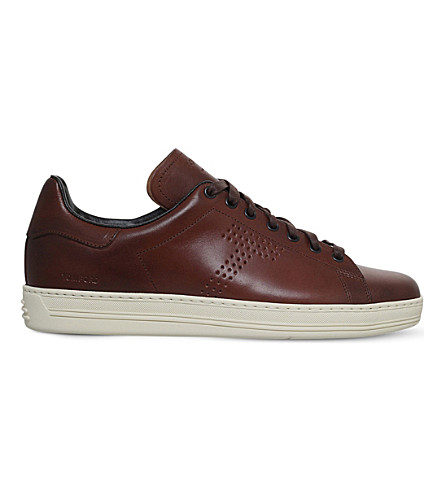 TOM FORD Warwick low-top leather trainers (Mid+brown