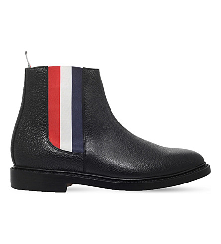 THOM BROWNE Striped leather Chelsea boot (Black