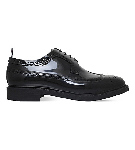 THOM BROWNE Patent jelly Derby shoes