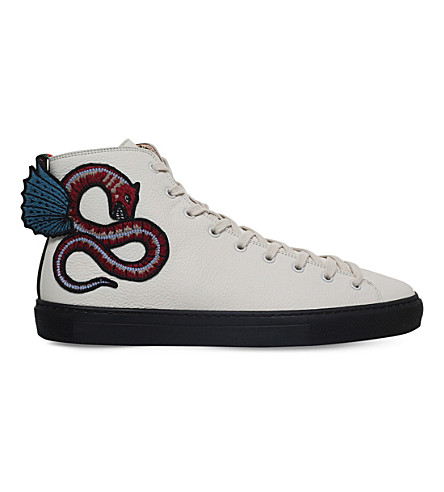 GUCCI Major embroidered leather high-top rainers