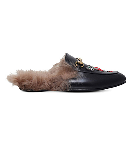 GUCCI Princetown embellished leather and shearling slippers