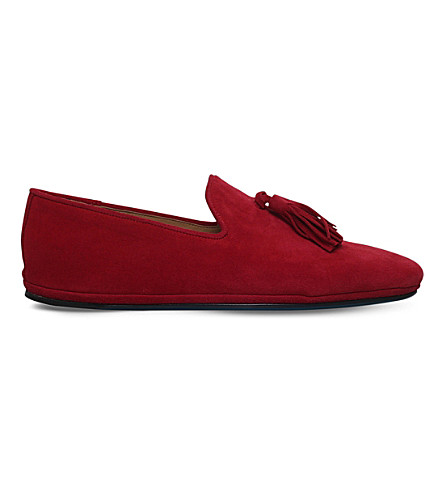 SUTOR MANTELLASSI Herald suede tassle loafers (Red