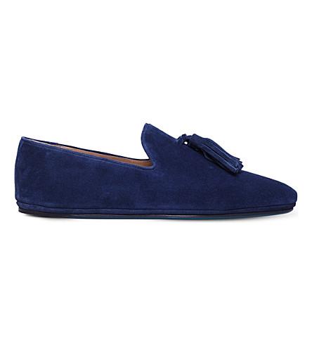 SUTOR MANTELLASSI Herald suede tassle loafers (Navy