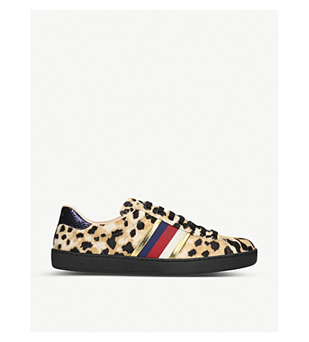 GUCCI New Ace leopard-print pony-hair trainers (Mult/other