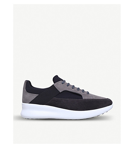 SALVATORE FERRAGAMO Duo suede and mesh trainers (Grey/d.cmb