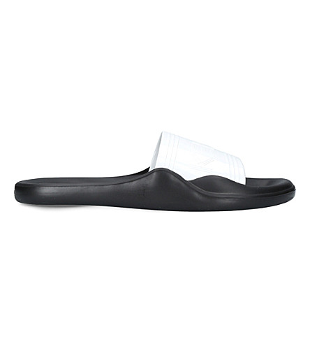 KENZO Logo rubber pool sliders (White/blk