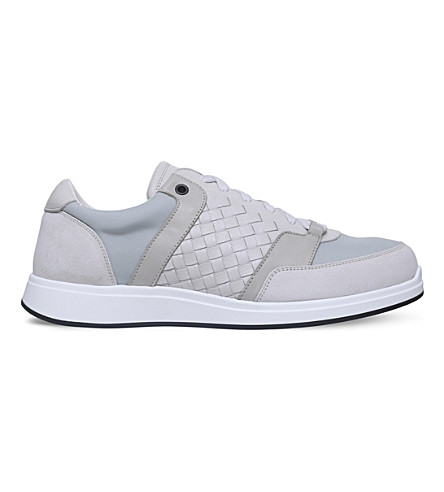 BOTTEGA VENETA Running woven leather and mesh trainers (White