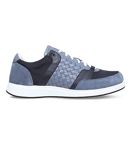 BOTTEGA VENETA Running woven leather and mesh sneakers (Blue