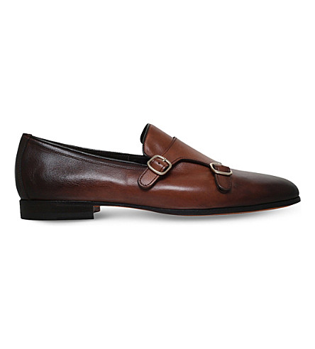 SANTONI Carlos double-strap leather monk shoes (Brown