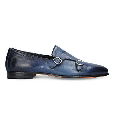 SANTONI Carlos double-strap leather monk shoes (Navy
