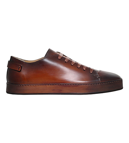 SANTONI Low-top burnished-leather trainers (Tan