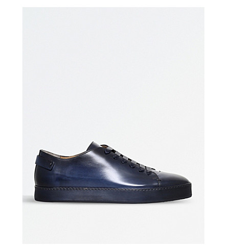 SANTONI Chill low-top leather trainers (Blue/dark