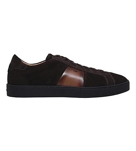 SANTONI Gloria suede trainers (Dark+brown