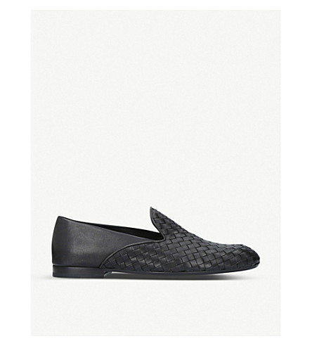 BOTTEGA VENETA Half-woven leather slippers (Black