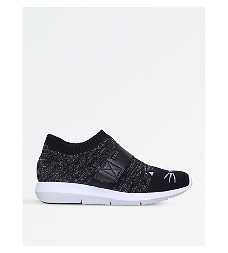 Cat face-motif woven trainers(5120-10004-0848100109)
