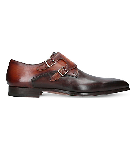 MAGNANNI Two-tone leather double monk shoes (Brown/oth
