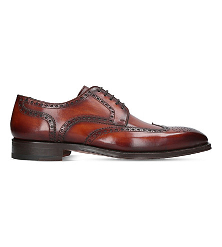 MAGNANNI Wingtip brogue burnished leather derby shoes (Tan