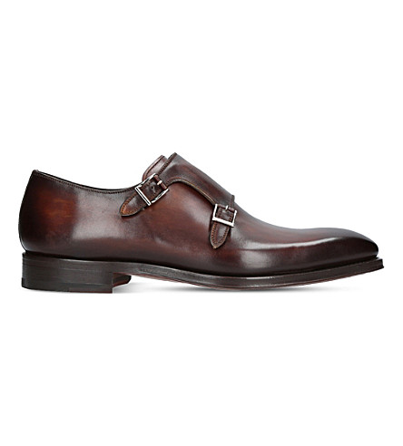 MAGNANNI Burnished leather double monk strap shoes (Tan