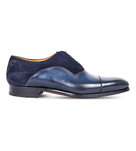 MAGNANNI Panelled leather Oxford shoes (Blue