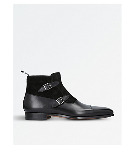 MAGNANNI Double-buckled leather and suede ankle boots (Black