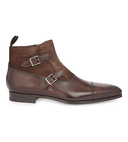 MAGNANNI Leather & suede double buckled ankle boots (Mid+brown