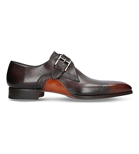 MAGNANNI Opanka curve leather monk shoes (Dark+brown