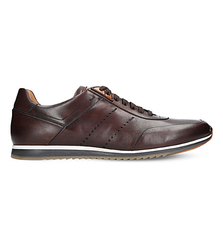 MAGNANNI Perforated leather trainers (Tan