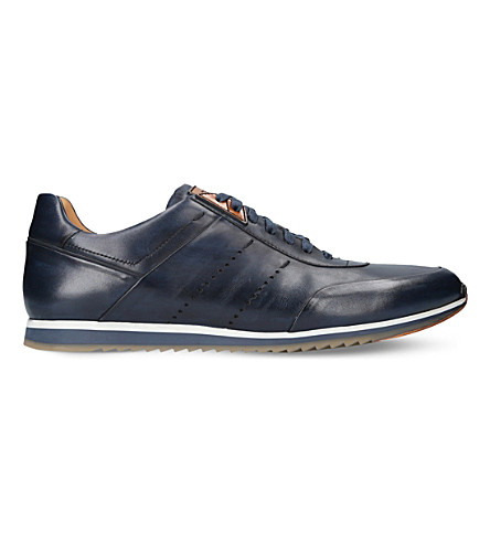 MAGNANNI Perforated stripe leather trainers (Blue