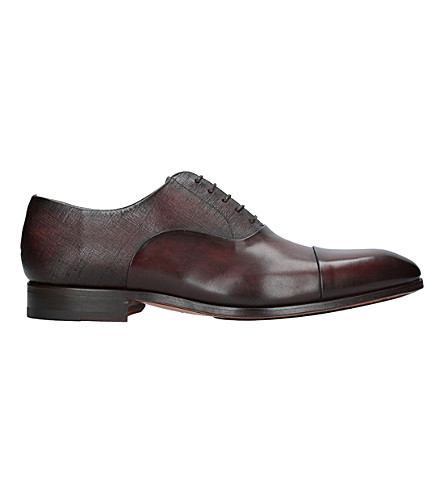 MAGNANNI Contrast texture leather oxford shoes (Brown