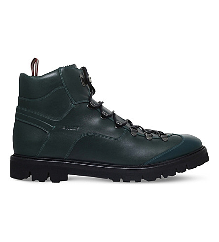 BALLY Chamonix leather hiking boots (Dark+green