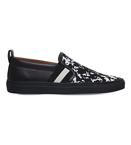 BALLY Herald notebook-print nylon and leather trainers (Black