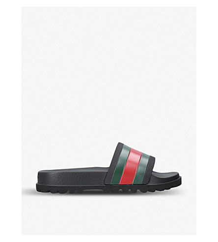GUCCI Pursuit striped rubber slides (Black
