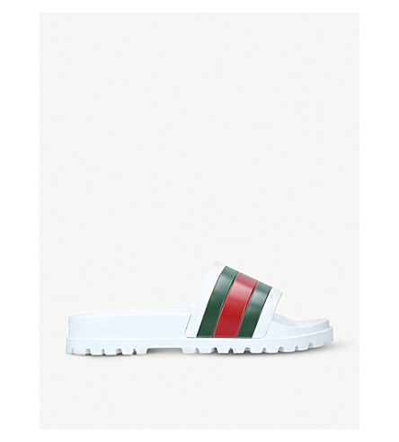GUCCI Pursuit trek rubber slider sandals (White