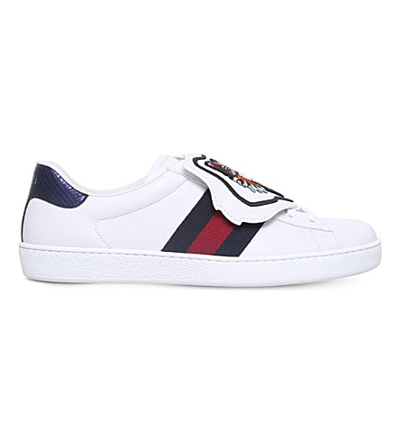 GUCCI New Ace cat patch leather trainers (White