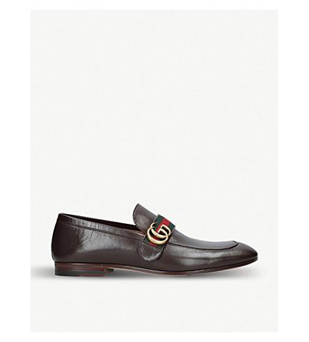 GUCCI 唐尼 GG 皮革便鞋 (棕色