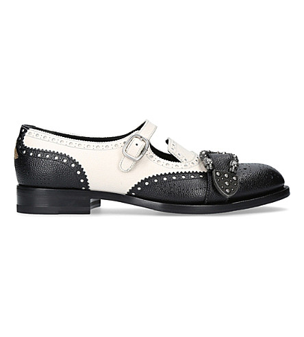 GUCCI Queercore leather monk shoes (Blk/white