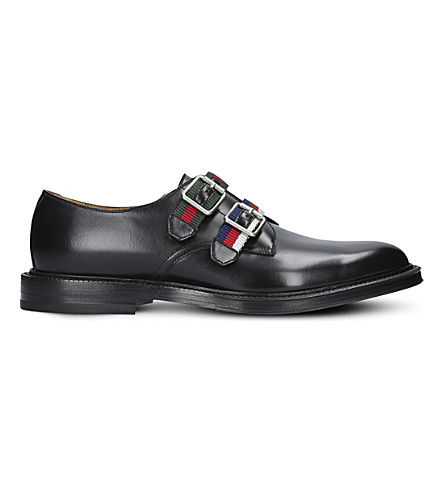 GUCCI Beyond strapped leather monk shoes (Black