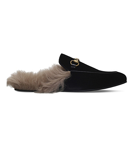 GUCCI Princetown velvet slippers (Black